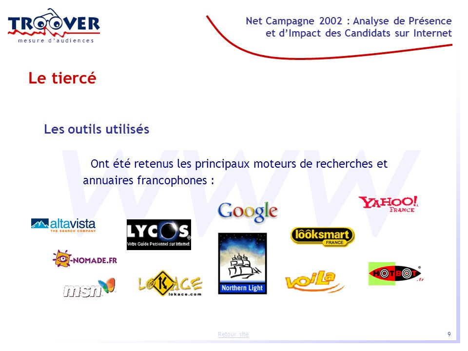9 Net Campagne 2002 : Analyse de Présence et dImpact des Candidats sur Internet m e s u r e d a u d i e n c e s Retour site www Les outils utilisés On