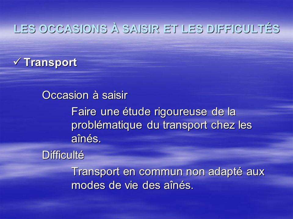 LES OCCASIONS À SAISIR ET LES DIFFICULTÉS Transport Transport Occasion à saisir Faire une étude rigoureuse de la problématique du transport chez les a