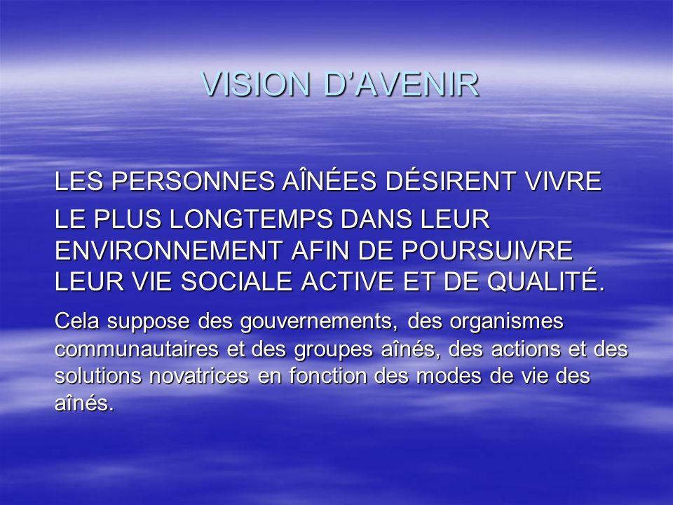 VISION DAVENIR LES PERSONNES AÎNÉES DÉSIRENT VIVRE LE PLUS LONGTEMPS DANS LEUR ENVIRONNEMENT AFIN DE POURSUIVRE LEUR VIE SOCIALE ACTIVE ET DE QUALITÉ.