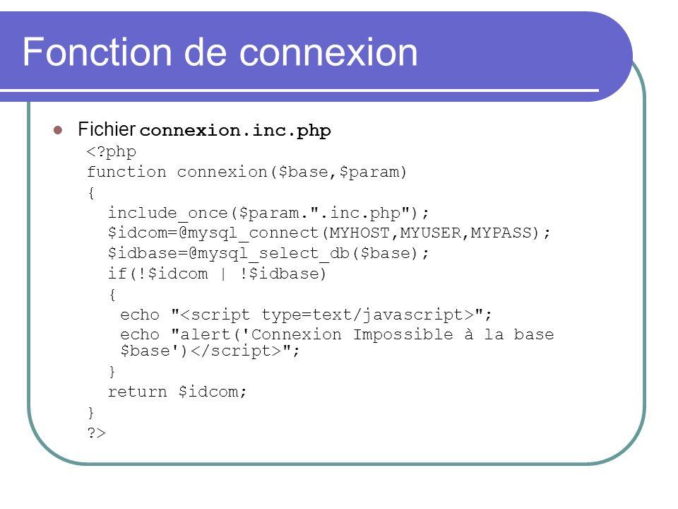 Fonction de connexion Fichier connexion.inc.php < php function connexion($base,$param) { include_once($param. .inc.php ); $idcom=@mysql_connect(MYHOST,MYUSER,MYPASS); $idbase=@mysql_select_db($base); if(!$idcom | !$idbase) { echo ; echo alert( Connexion Impossible à la base $base ) ; } return $idcom; } >