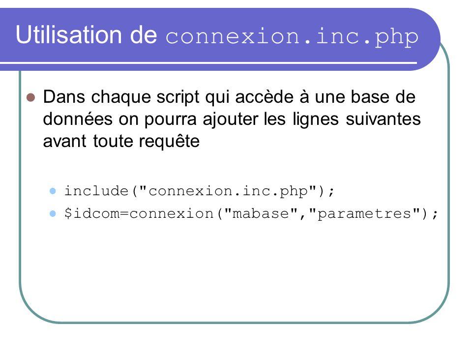 Utilisation de connexion.inc.php Dans chaque script qui accède à une base de données on pourra ajouter les lignes suivantes avant toute requête include( connexion.inc.php ); $idcom=connexion( mabase , parametres );