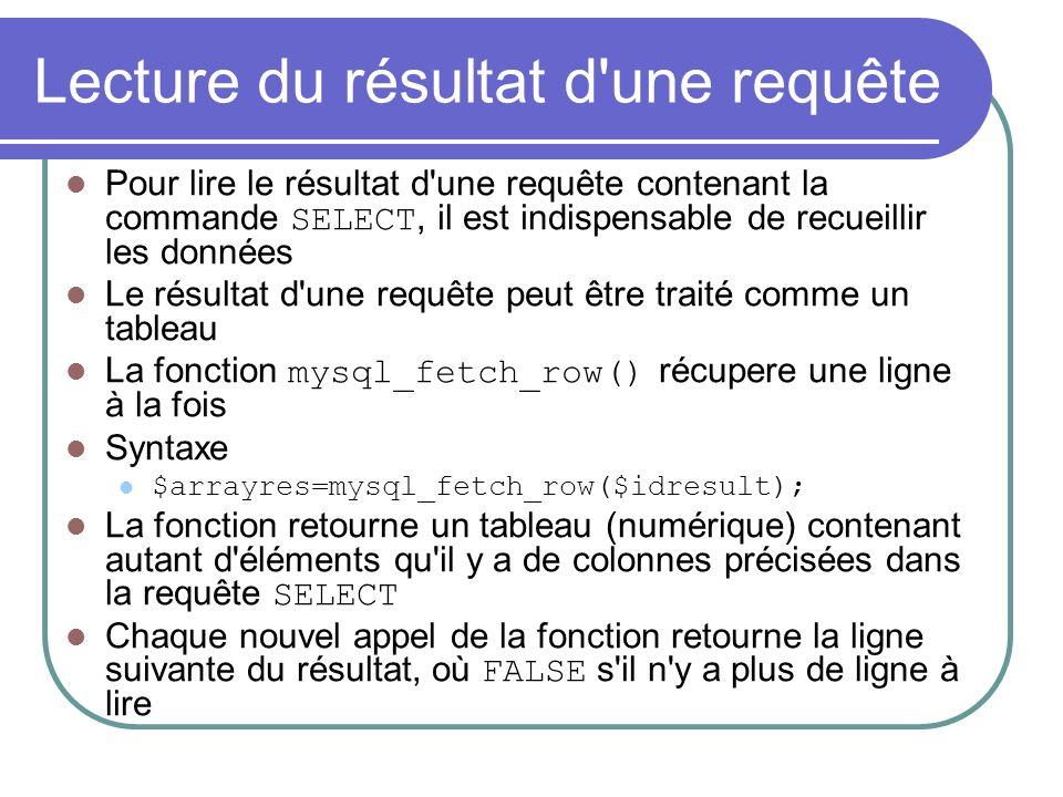 Lecture du résultat d une requête Pour lire le résultat d une requête contenant la commande SELECT, il est indispensable de recueillir les données Le résultat d une requête peut être traité comme un tableau La fonction mysql_fetch_row() récupere une ligne à la fois Syntaxe $arrayres=mysql_fetch_row($idresult); La fonction retourne un tableau (numérique) contenant autant d éléments qu il y a de colonnes précisées dans la requête SELECT Chaque nouvel appel de la fonction retourne la ligne suivante du résultat, où FALSE s il n y a plus de ligne à lire