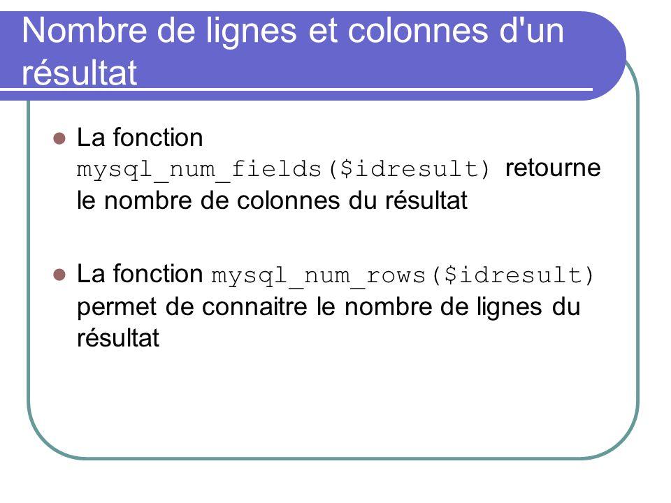 Nombre de lignes et colonnes d un résultat La fonction mysql_num_fields($idresult) retourne le nombre de colonnes du résultat La fonction mysql_num_rows($idresult) permet de connaitre le nombre de lignes du résultat