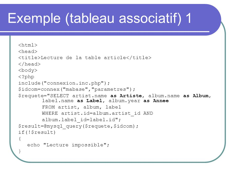 Exemple (tableau associatif) 1 Lecture de la table article <?php include(