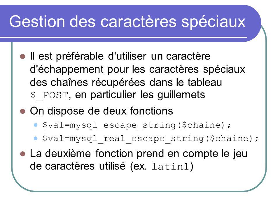 Gestion des caractères spéciaux Il est préférable d utiliser un caractère d échappement pour les caractères spéciaux des chaînes récupérées dans le tableau $_POST, en particulier les guillemets On dispose de deux fonctions $val=mysql_escape_string($chaine); $val=mysql_real_escape_string($chaine); La deuxième fonction prend en compte le jeu de caractères utilisé (ex.