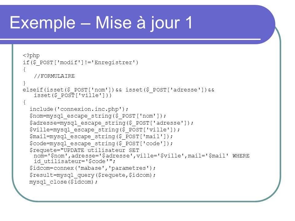 Exemple – Mise à jour 1 < php if($_POST[ modif ]!= Enregistrer ) { //FORMULAIRE } elseif(isset($_POST[ nom ])&& isset($_POST[ adresse ])&& isset($_POST[ ville ])) { include( connexion.inc.php ); $nom=mysql_escape_string($_POST[ nom ]); $adresse=mysql_escape_string($_POST[ adresse ]); $ville=mysql_escape_string($_POST[ ville ]); $mail=mysql_escape_string($_POST[ mail ]); $code=mysql_escape_string($_POST[ code ]); $requete= UPDATE utilisateur SET nom= $nom ,adresse= $adresse ,ville= $ville ,mail= $mail WHERE id_utilisateur= $code ; $idcom=connex( mabase , parametres ); $result=mysql_query($requete,$idcom); mysql_close($idcom);