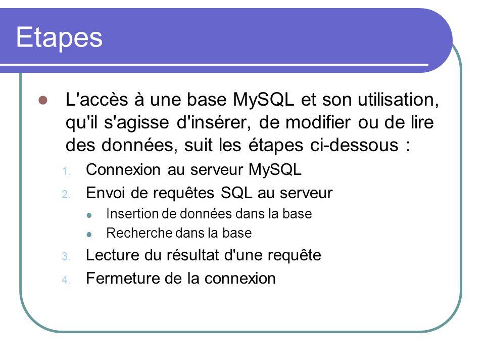 Etapes L accès à une base MySQL et son utilisation, qu il s agisse d insérer, de modifier ou de lire des données, suit les étapes ci-dessous : 1.