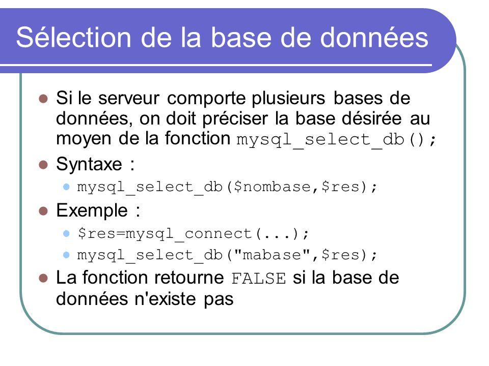 Sélection de la base de données Si le serveur comporte plusieurs bases de données, on doit préciser la base désirée au moyen de la fonction mysql_select_db(); Syntaxe : mysql_select_db($nombase,$res); Exemple : $res=mysql_connect(...); mysql_select_db( mabase ,$res); La fonction retourne FALSE si la base de données n existe pas