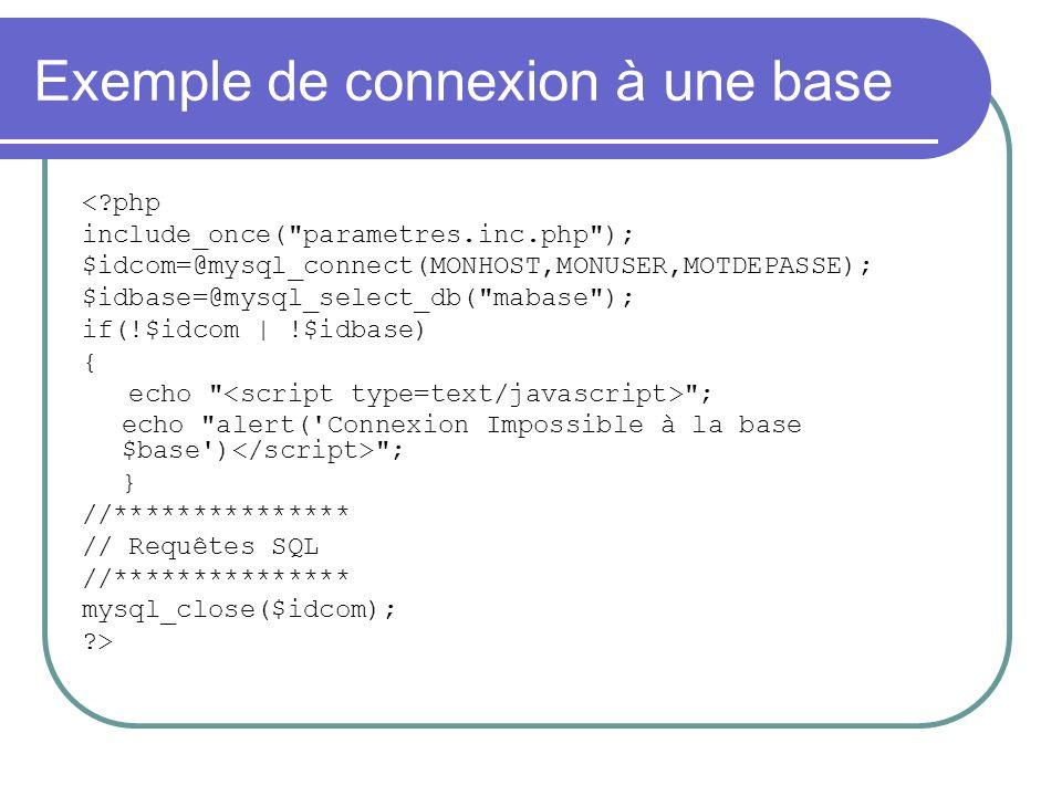 Exemple de connexion à une base < php include_once( parametres.inc.php ); $idcom=@mysql_connect(MONHOST,MONUSER,MOTDEPASSE); $idbase=@mysql_select_db( mabase ); if(!$idcom | !$idbase) { echo ; echo alert( Connexion Impossible à la base $base ) ; } //*************** // Requêtes SQL //*************** mysql_close($idcom); >