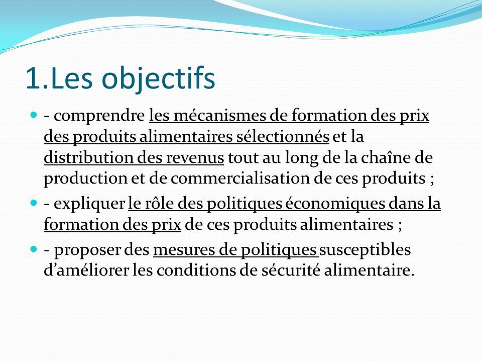 1.Les objectifs - comprendre les mécanismes de formation des prix des produits alimentaires sélectionnés et la distribution des revenus tout au long d