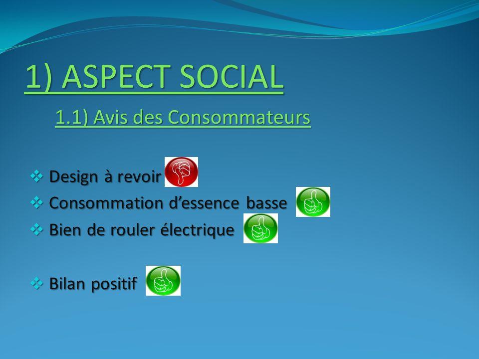 1) ASPECT SOCIAL 1.1) Avis des Consommateurs Design à revoir Design à revoir Consommation dessence basse Consommation dessence basse Bien de rouler él