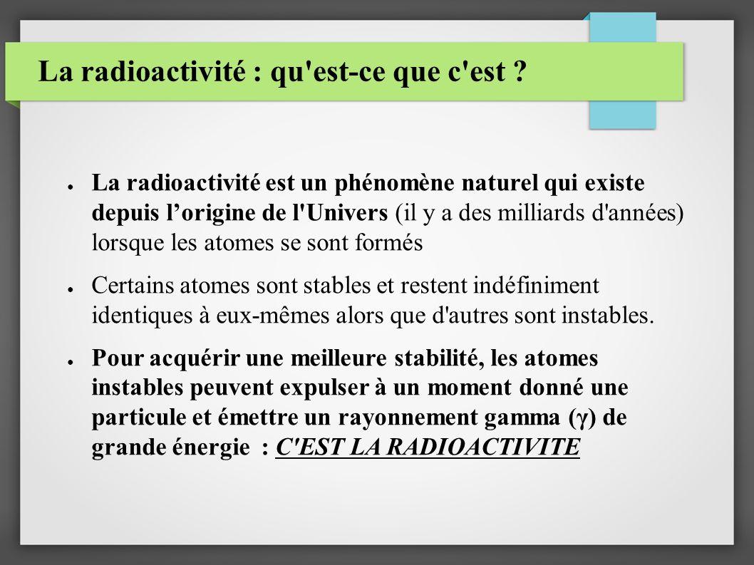 La radioactivité : qu'est-ce que c'est ? La radioactivité est un phénomène naturel qui existe depuis lorigine de l'Univers (il y a des milliards d'ann