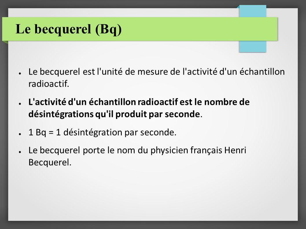 Le becquerel (Bq) Le becquerel est l'unité de mesure de l'activité d'un échantillon radioactif. L'activité d'un échantillon radioactif est le nombre d