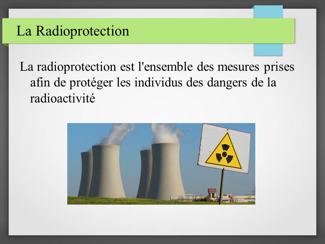 La Radioprotection La radioprotection est l'ensemble des mesures prises afin de protéger les individus des dangers de la radioactivité