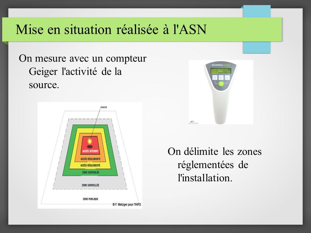 On mesure avec un compteur Geiger l'activité de la source. On délimite les zones réglementées de l'installation.