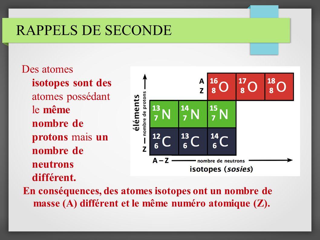 RAPPELS DE SECONDE Des atomes isotopes sont des atomes possédant le même nombre de protons mais un nombre de neutrons différent. En conséquences, des