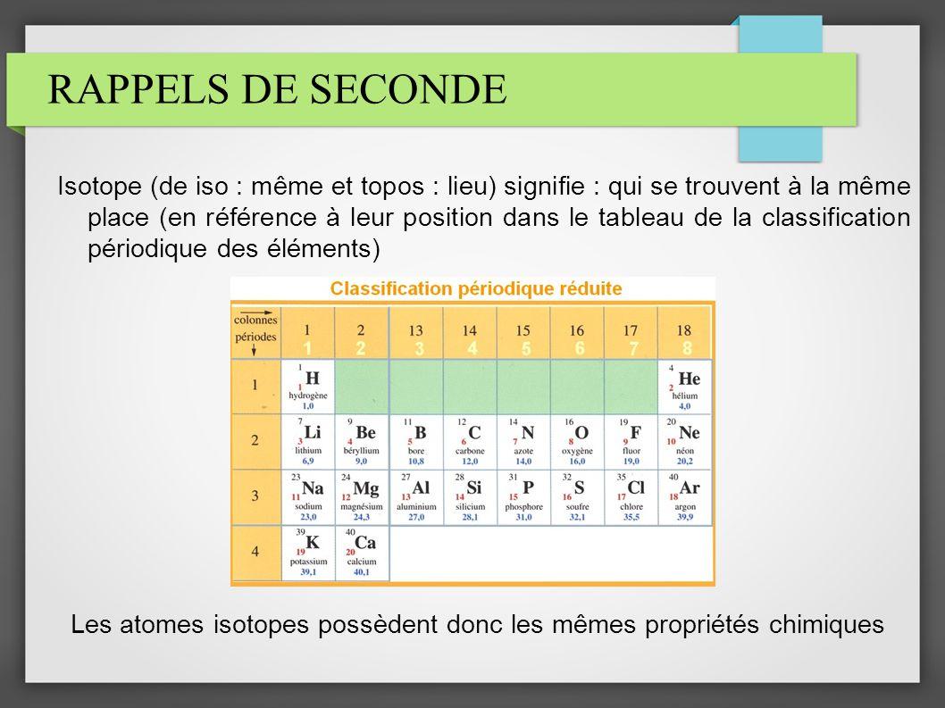 RAPPELS DE SECONDE Isotope (de iso : même et topos : lieu) signifie : qui se trouvent à la même place (en référence à leur position dans le tableau de la classification périodique des éléments) Les atomes isotopes possèdent donc les mêmes propriétés chimiques