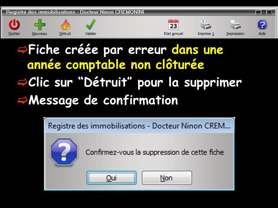 Fiche créée par erreur dans une année comptable non clôturée Clic sur Détruit pour la supprimer Message de confirmation