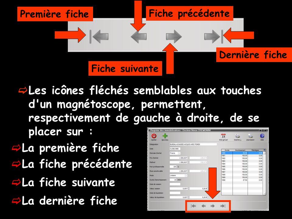 Les icônes fléchés semblables aux touches d'un magnétoscope, permettent, respectivement de gauche à droite, de se placer sur : Première fiche Dernière