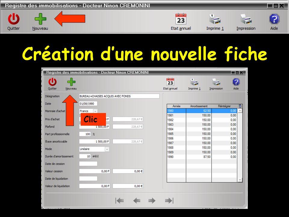 Champs à remplir Nom de la fiche Une autre fiche ne peut porter le même nom Date d achat Monnaie utilisée pour cet achat, francs ou euros, la conversion se fait automatiquement