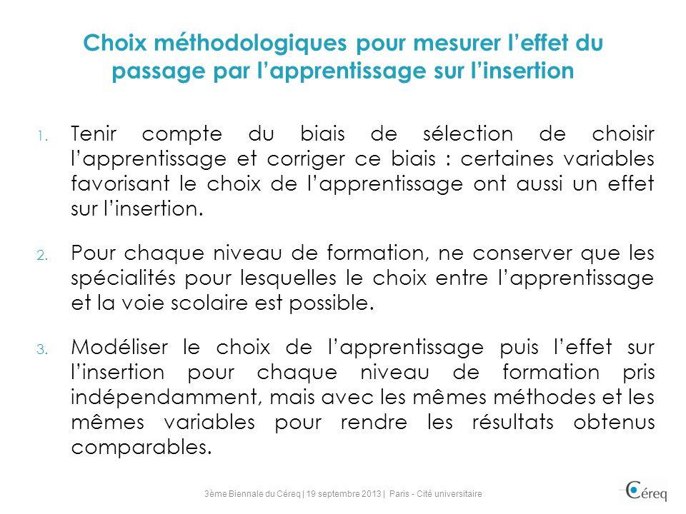 Choix méthodologiques pour mesurer leffet du passage par lapprentissage sur linsertion 1.
