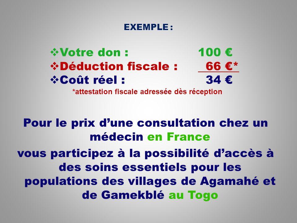 Pour le prix dune consultation chez un médecin en France vous participez à la possibilité daccès à des soins essentiels pour les populations des villages de Agamahé et de Gamekblé au Togo Votre don : 100 Déduction fiscale : 66 * Coût réel : 34 *attestation fiscale adressée dès réception EXEMPLE :