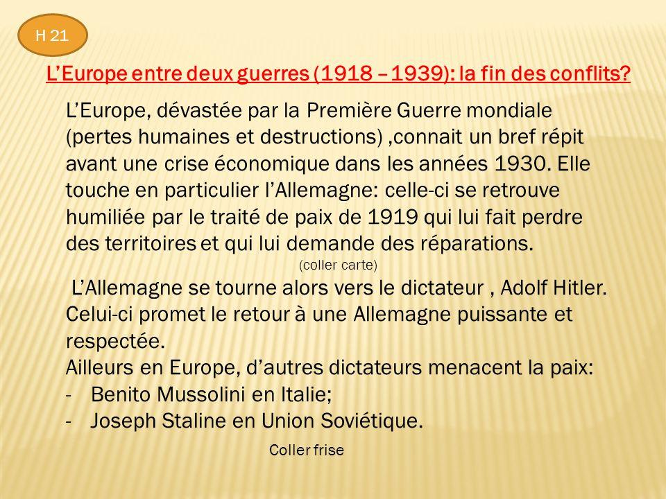 LEurope entre deux guerres (1918 –1939): la fin des conflits.