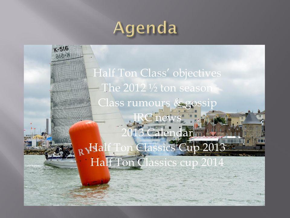 Half Ton Class objectives The 2012 ½ ton season Class rumours & gossip IRC news 2013 Calendar Half Ton Classics Cup 2013 Half Ton Classics cup 2014