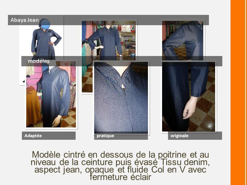 Modèle cintré en dessous de la poitrine et au niveau de la ceinture puis évasé Tissu denim, aspect jean, opaque et fluide Col en V avec fermeture écla