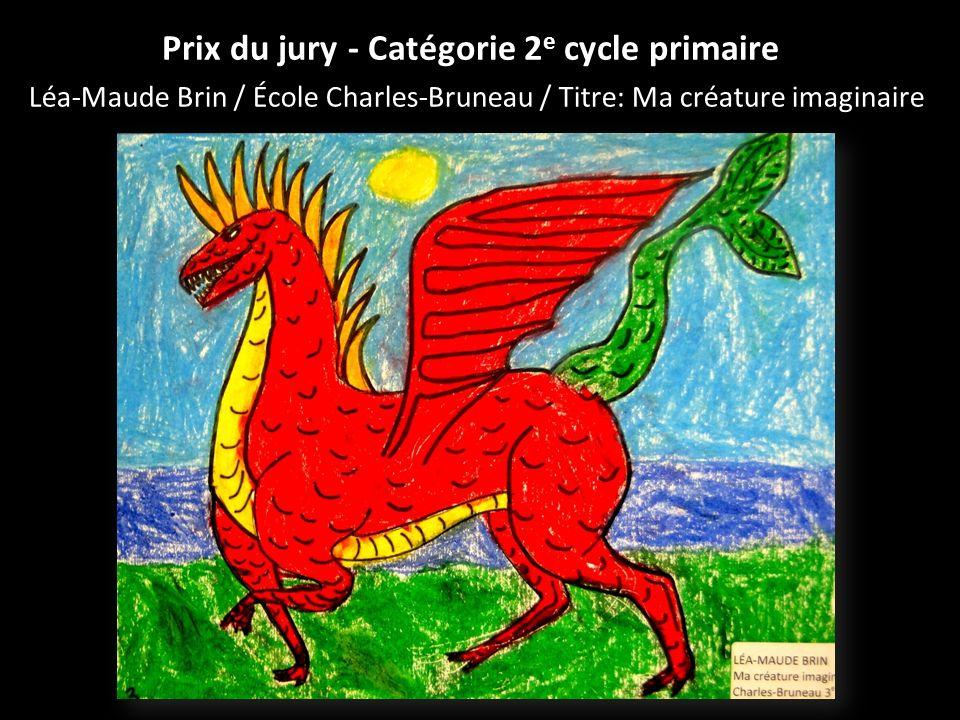 Prix du jury - Catégorie 2 e cycle primaire Léa-Maude Brin / École Charles-Bruneau / Titre: Ma créature imaginaire
