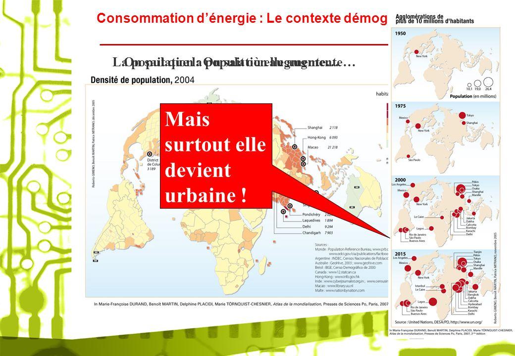 Consommation dénergie : Le contexte démographique On sait que la population augmente…La population : On sait où elle augmente… Mais surtout elle devie