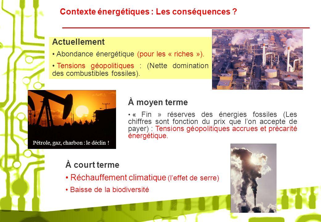 Contexte énergétiques : Les conséquences ? Actuellement Abondance énergétique (pour les « riches »). Tensions géopolitiques : (Nette domination des co