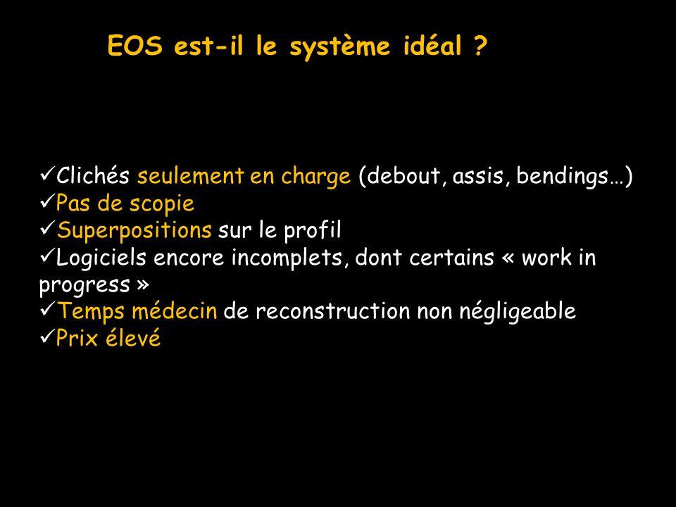 EOS est-il le système idéal ? Clichés seulement en charge (debout, assis, bendings…) Pas de scopie Superpositions sur le profil Logiciels encore incom
