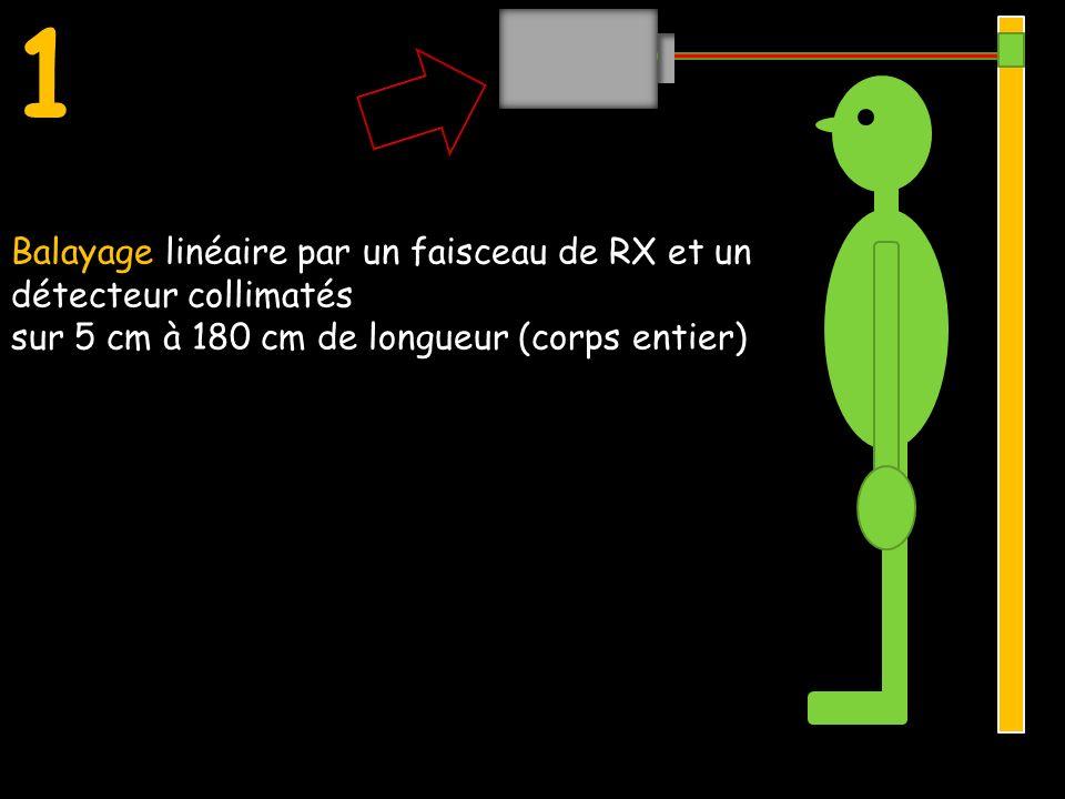 1 Balayage linéaire par un faisceau de RX et un détecteur collimatés sur 5 cm à 180 cm de longueur (corps entier) Balayage linéaire par un faisceau de