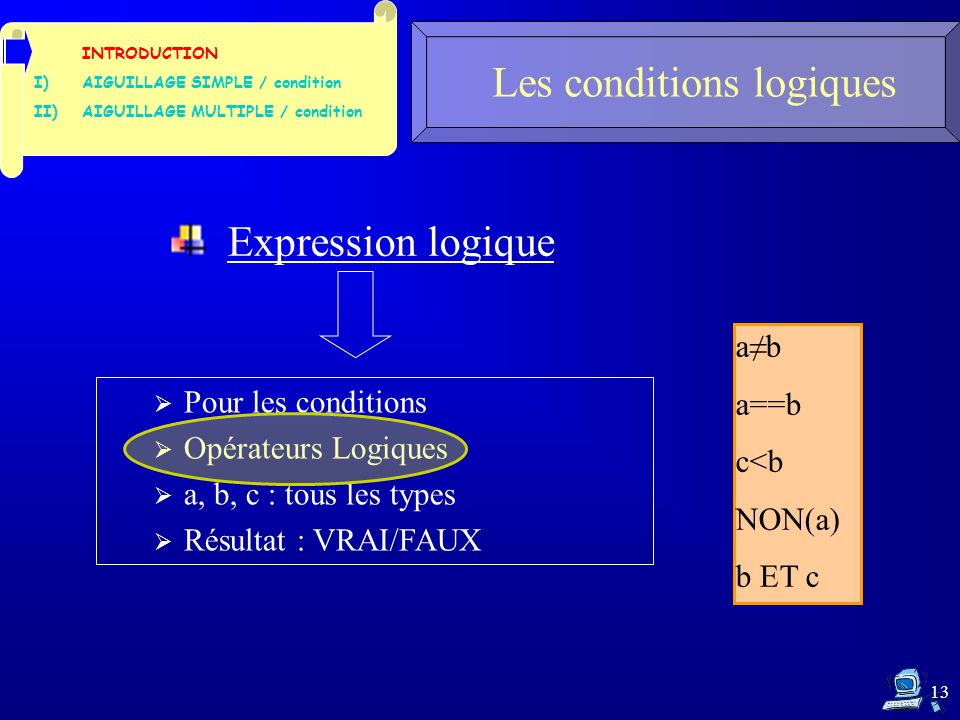 13 Les conditions logiques INTRODUCTION I)AIGUILLAGE SIMPLE / condition II)AIGUILLAGE MULTIPLE / condition Expression logique Pour les conditions Opérateurs Logiques a, b, c : tous les types Résultat : VRAI/FAUX ab a==b c<b NON(a) b ET c