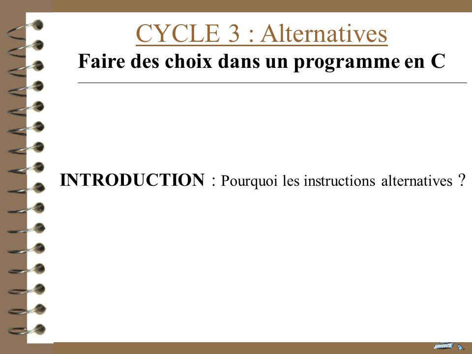 CYCLE 3 : Alternatives Faire des choix dans un programme en C INTRODUCTION : Pourquoi les instructions alternatives