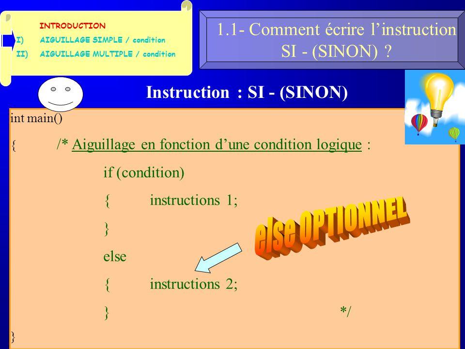22 1.1- Comment écrire linstruction SI - (SINON) .