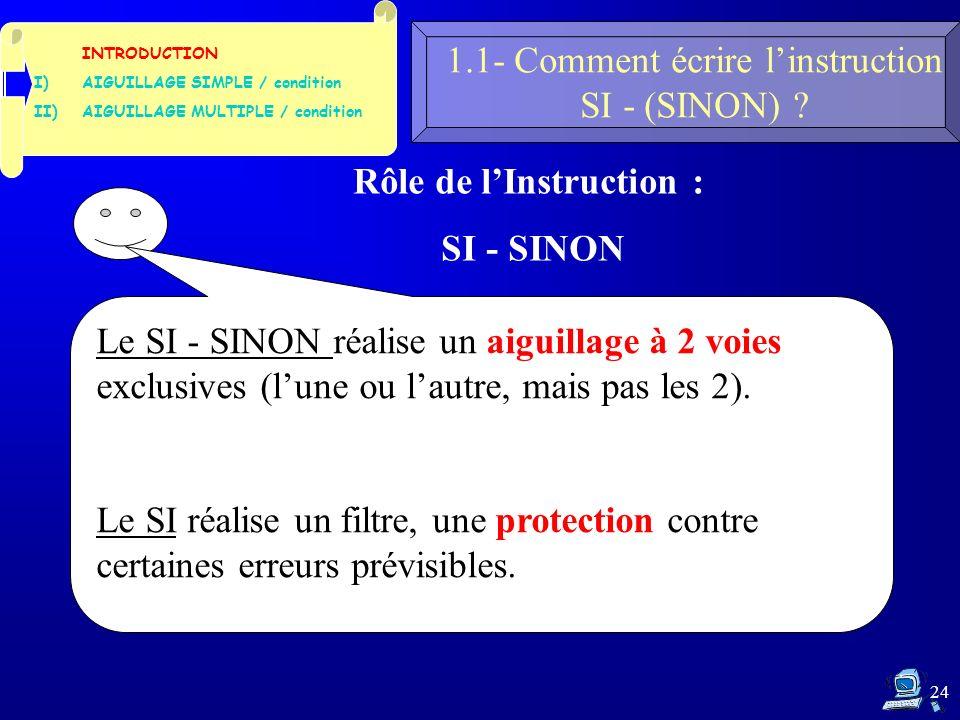 24 1.1- Comment écrire linstruction SI - (SINON) .
