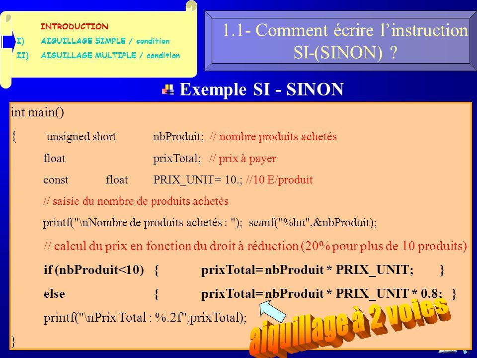 25 1.1- Comment écrire linstruction SI-(SINON) .