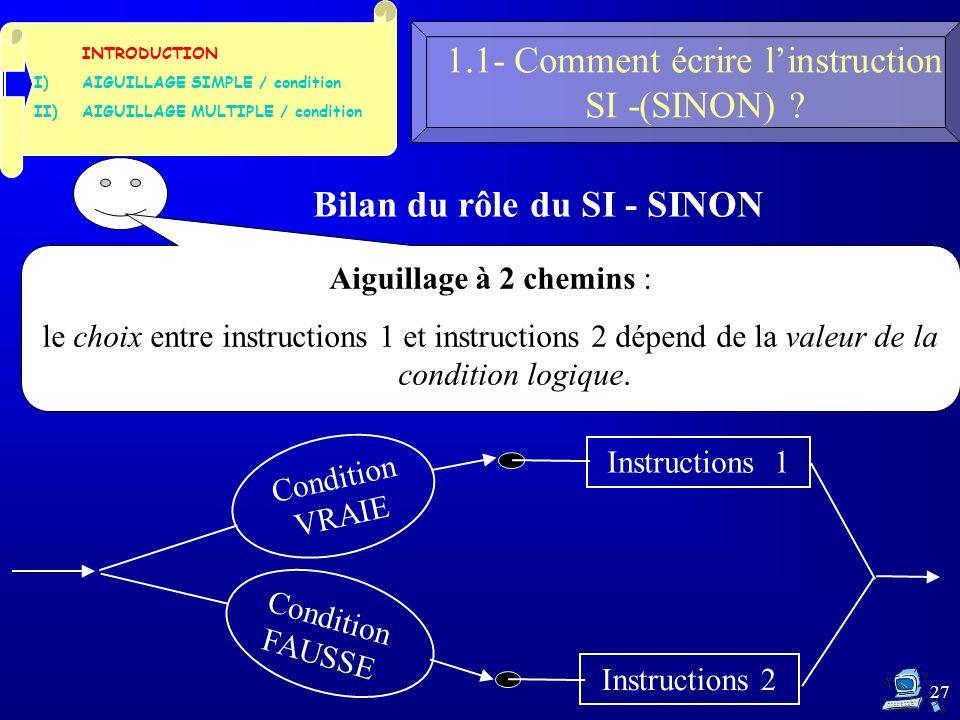 27 1.1- Comment écrire linstruction SI -(SINON) .