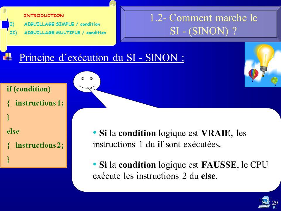 29 1.2- Comment marche le SI - (SINON) .