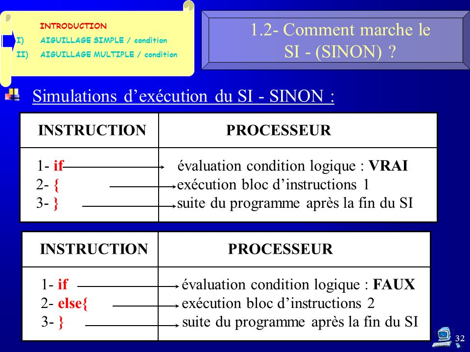 32 1.2- Comment marche le SI - (SINON) .