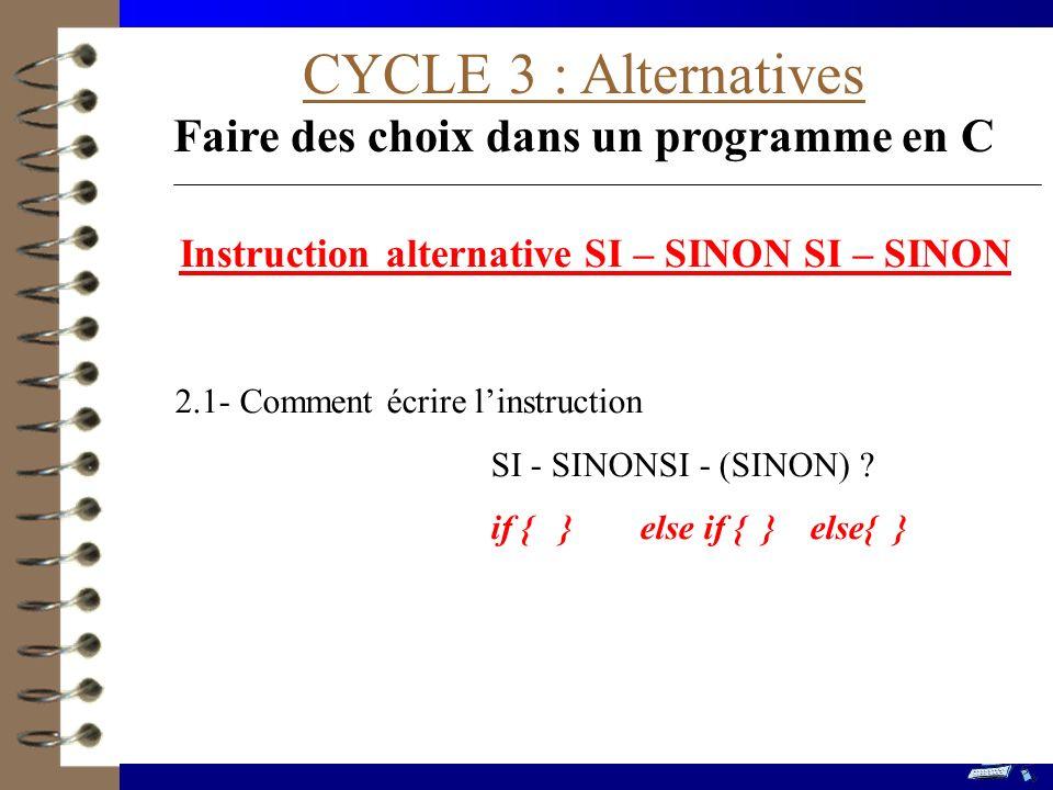 CYCLE 3 : Alternatives Faire des choix dans un programme en C 2.1- Comment écrire linstruction SI - SINONSI - (SINON) .