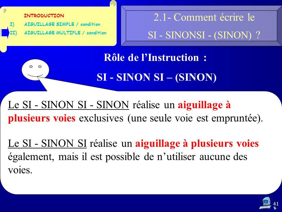 41 2.1- Comment écrire le SI - SINONSI - (SINON) .