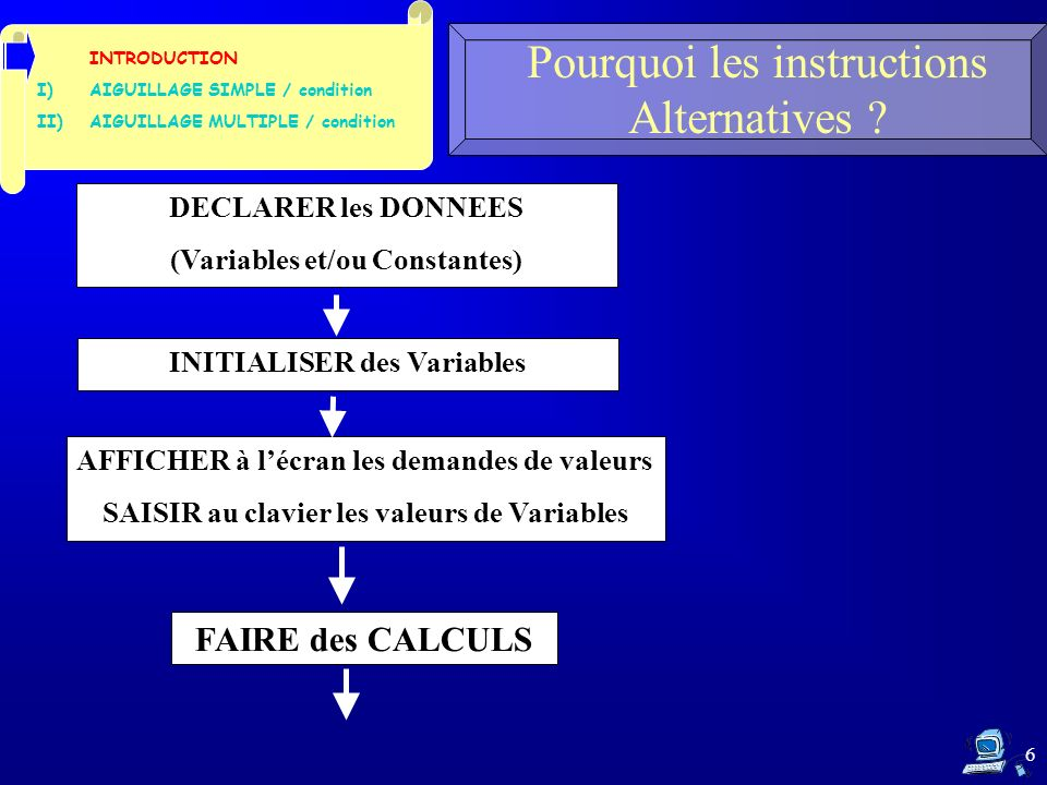 6 Pourquoi les instructions Alternatives ? INTRODUCTION I)AIGUILLAGE SIMPLE / condition II)AIGUILLAGE MULTIPLE / condition DECLARER les DONNEES (Varia
