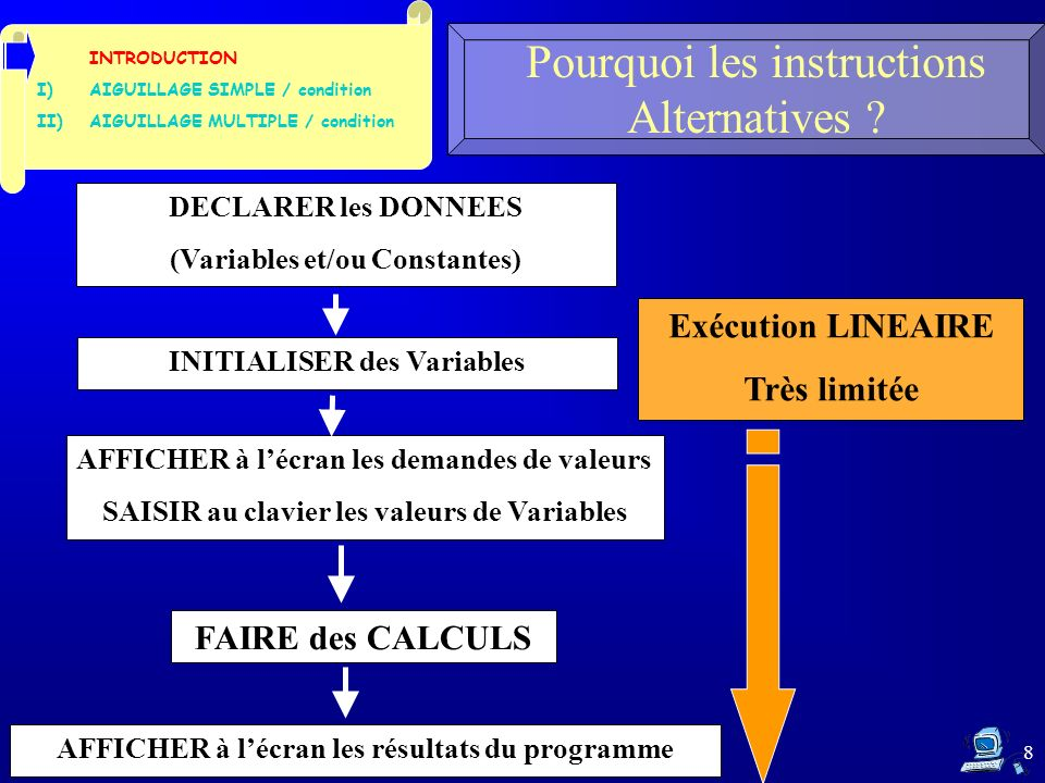 8 Pourquoi les instructions Alternatives ? INTRODUCTION I)AIGUILLAGE SIMPLE / condition II)AIGUILLAGE MULTIPLE / condition DECLARER les DONNEES (Varia