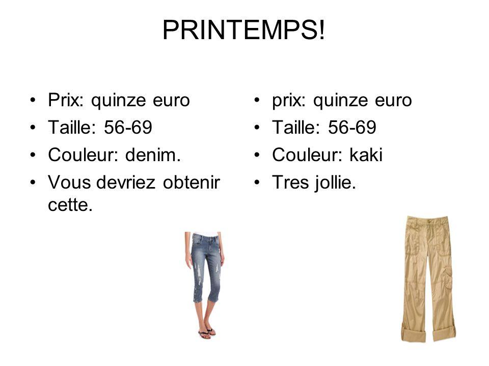 PRINTEMPS! Prix: quinze euro Taille: 56-69 Couleur: denim. Vous devriez obtenir cette. prix: quinze euro Taille: 56-69 Couleur: kaki Tres jollie.