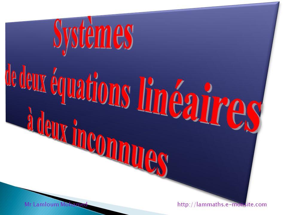 y par 3 Maintenant je remplace y par 3 dans léquation ( 1 ) : 2x + 9y = 25 y = 3 ( 1 ) 2x + 9 x 3 = 25 2x + 27 = 25 2x = 25 – 27 2x = – 2 x = – 2 2 x = – 1 Mr Lamloum Mohamed http://lammaths.e-monsite.com