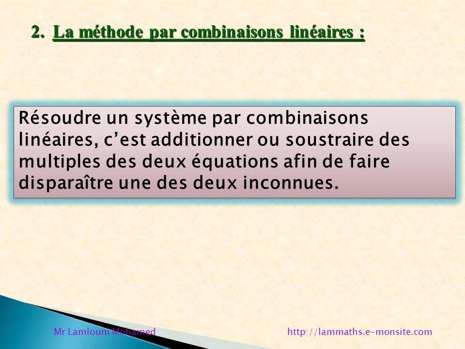 2. La méthode par combinaisons linéaires : Résoudre un système par combinaisons linéaires, cest additionner ou soustraire des multiples des deux équat