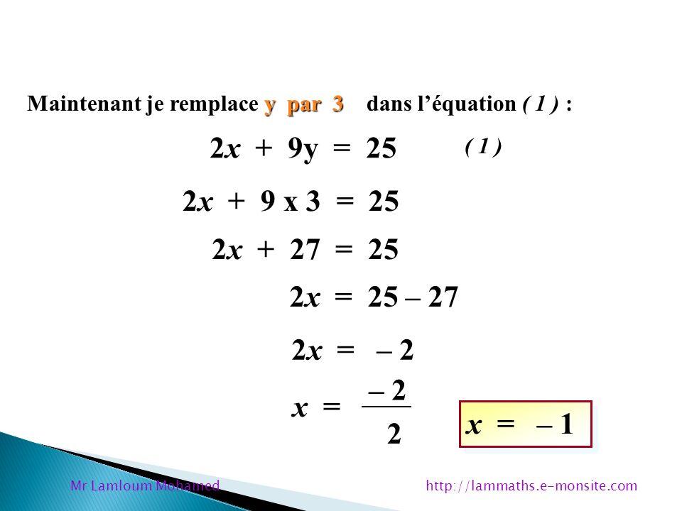 y par 3 Maintenant je remplace y par 3 dans léquation ( 1 ) : 2x + 9y = 25 y = 3 ( 1 ) 2x + 9 x 3 = 25 2x + 27 = 25 2x = 25 – 27 2x = – 2 x = – 2 2 x
